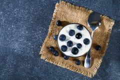 Iogurte com as bagas azuis da ameixoeira-brava em um vidro Framboesa do gelado da baga dessert foto de stock
