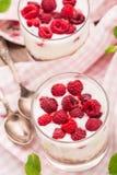 Iogurte com muesli e framboesas Fotos de Stock