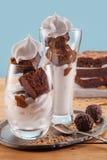 Iogurte congelado baunilha de Asty com brownie e chantiliy Imagem de Stock Royalty Free