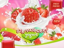 Iogurte da morango Os frutos e o leite espirram vetor 3d Imagem de Stock