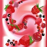 Iogurte de fruta do vetor Fotografia de Stock