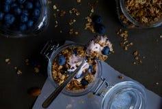 Iogurte de mirtilo com granola Foto de Stock