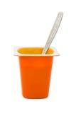Iogurte e colher Fruity fotos de stock royalty free