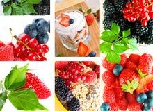 Iogurte fresco com fruta e baga fotografia de stock