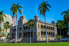 Iolani Palace. Registered as a National Historic Landmark and is the only official royal residence in the United States, to the former Royal Monarch of Hawaii royalty free stock images
