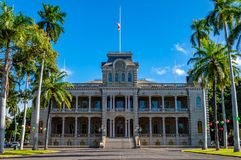Iolani Palace. Registered as a National Historic Landmark and is the only official royal residence in the United States, to the former Royal Monarch of Hawaii stock image