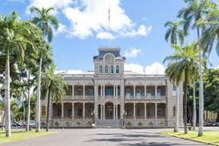 Iolani slott i i stadens centrum Honolulu, Hawaii Arkivbild