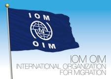 IOM, OIM, organizzazione internazionale per la bandiera di migrazione Immagini Stock