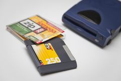 Iomega Zip 250 Drive, Disk and Jewel Case Royalty Free Stock Photos