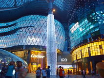 ION Orchard Night Landscape. At night, ION Orchard - a popular shopping mall in Singapore - glitters, attracting many shutterbugs and shoppers day and night Royalty Free Stock Images