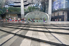 ION Orchard shopping mall Singapore after tropical heavy rain. With wet floor stairs. It is formerly known as the Orchard Turn Development or Orchard Turn Site Stock Photography
