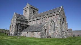 Iona Abbey Scotland uk on the Scottish island off the Isle of Mull west coast of Scotland a popular tourist destination stock video footage