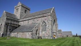 Iona Abbey Scotland uk Scottish island off the Isle of Mull west coast of Scotland a popular tourist destination pan stock footage