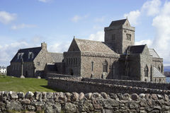 Iona Abbey - side view. One of Scotland's most sacred sites, the Abbey and tiny island of Iona have been a vibrant center of Christian worship since St royalty free stock images