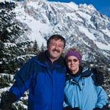 Ione degli anziani la neve Fotografia Stock