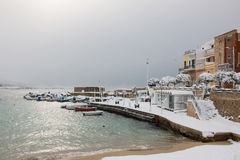 Ionian coast after a exceptional snowfall Stock Images