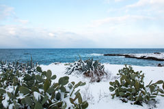 Ionian coast after a exceptional snowfall Royalty Free Stock Image