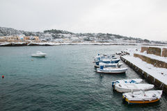 Ionian coast near Santa Caterina after a exceptional snowfall Stock Photo