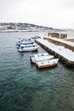 Ionian coast near Santa Caterina after a exceptional snowfall Stock Photography