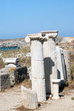 Ionian column capital, architectural detail on Delos island Stock Photos