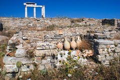 Ionian column capital, architectural detail on Delos island Stock Images