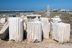 Ionian column capital, architectural detail on Delos island Royalty Free Stock Photo