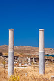 Ionian column capital, architectural detail on Delos island Royalty Free Stock Photography
