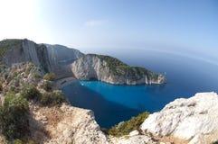 Ionian hav för Navagio strand Arkivbilder