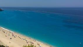 Ionian hav, Grekland, Lefkada ö, Milos Beach arkivfilmer
