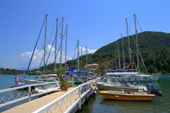Ionian islands yachts pier Stock Image