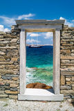 Ionian kolonnhuvudstad, arkitektonisk detalj på den Delos ön Arkivfoton