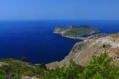 Kefalonia Greece Landscape. A panoramic shot of Asos Village in Kefalonia, Greece Royalty Free Stock Photography