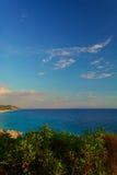 Ionian morza widok od wzgórzy w Dhermi, Albania Zdjęcia Stock