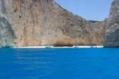 Ionian morze, Podpalany shipwreck zdjęcia stock