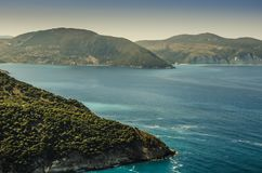 Ionian sea and coasts on the island of Kefalonia royalty free stock photography