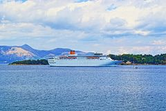 Ionian Sea cruise ship Corfu island shore Greece Stock Photos
