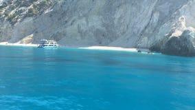 Ionian Sea, Greece, Lefkada island, Egremni. Lefkada island (Egremni, Greece, Ionian Sea) view from boat stock video footage