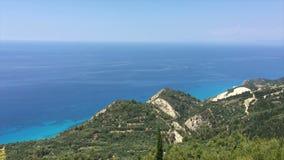 Ionian Sea, Greece, Lefkada island, Egremni. Lefkada island (Egremni, Greece, Ionian Sea) view from hill stock video