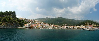 Ionian sea, island Paksos. Kind on a city from the sea Royalty Free Stock Photo
