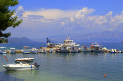 Ionian sea mooring view,Greece Royalty Free Stock Photo