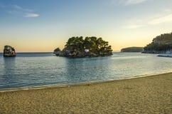 Ionian Sea - Parga, Preveza, Epirus, Greece. City Beach in Parga, Preveza, Greece - Ionian Sea - Parga, Preveza, Epirus, Greece royalty free stock photo