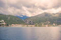 Ionian Sea skyline, a breathtaking view from an open deck of a greek ferryboa Royalty Free Stock Images