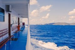 Ionian Sea skyline, a breathtaking view from an open deck of a greek ferryboa Stock Photography