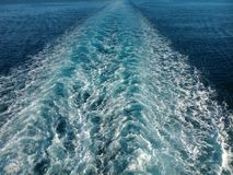 Wake of a boat at sea. Receding into the distance Royalty Free Stock Photography