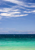 Ionian seascape. Looking from Corfu island in the Ionian towards the mountains of Albania stock image