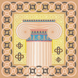 Ionic capital. Ionic column on a vivid Greek background Stock Images