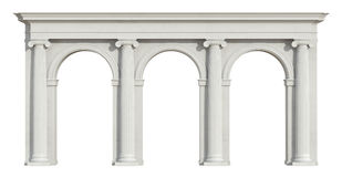 Ionic colonnade on white Stock Photos
