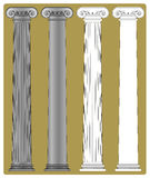 Ionic Column. Four variants of a illustration of a column with a Ionic capital and an attic style base: with and without flutes; with and without shading stock illustration