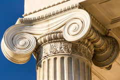 Ionic Column. Extreme Closeup Details Of An Ancient Greek Ionic Column stock photos