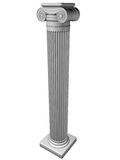 Ionic column. Ancient Ionic column isolated on white background Stock Image